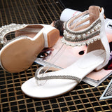 Beading Rhinestone Thong Women's Flat Flops Sandals - May Your Fashion - 7