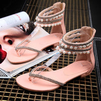 Beading Rhinestone Thong Women's Flat Flops Sandals - May Your Fashion - 8