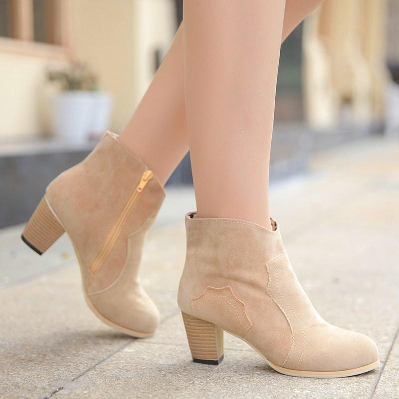 Chunky Heels Suede Pointed Toe Short Boots Pumps