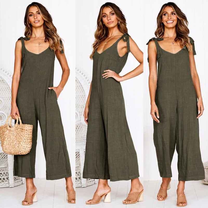 Plain High Waist V Neck Wide Leg Backless Jumpsuitss