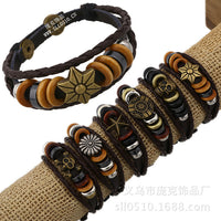 Fashion Beaded Woven Leather Bracelet Set