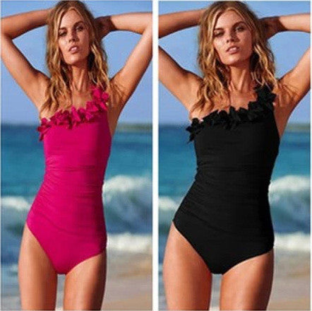 Oblique Ruffled Shoulder Slim One Piece Swimwear