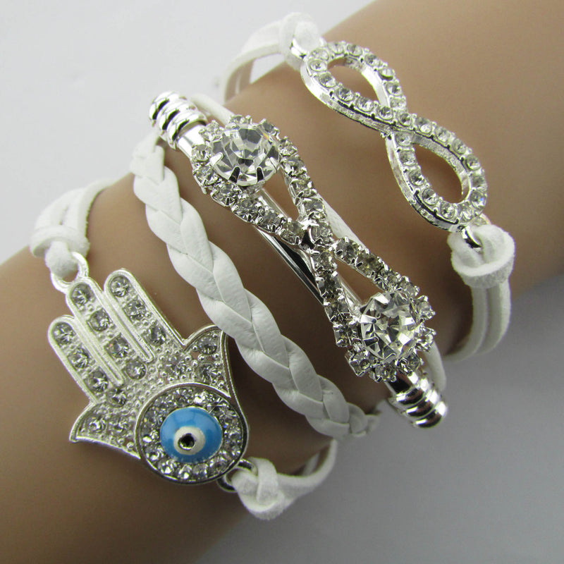 White Crystal Hand Leather Cord Bracelet