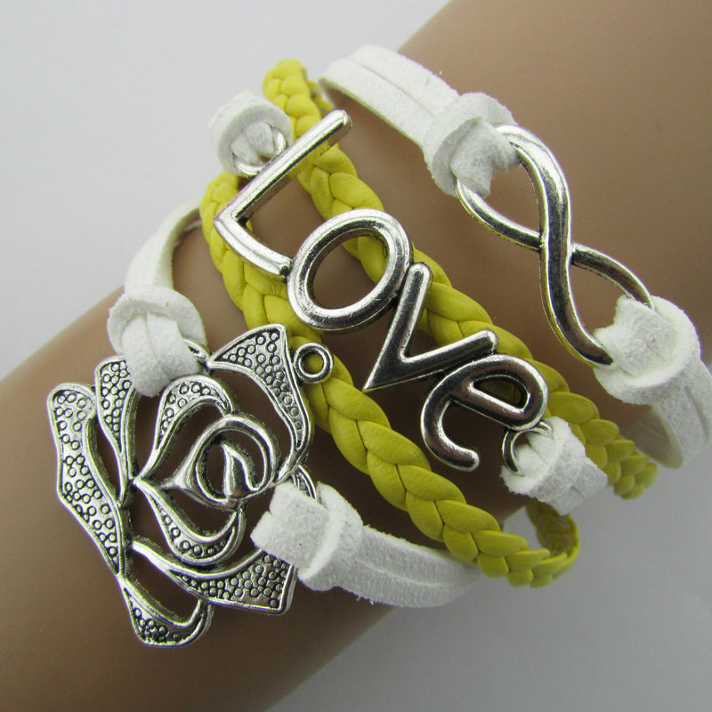 Rose LOVE 8 Leather Cord Bracelet