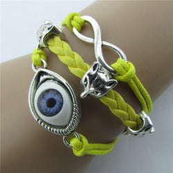 Devil Eyes Fox Retro Leather Cord Bracelet