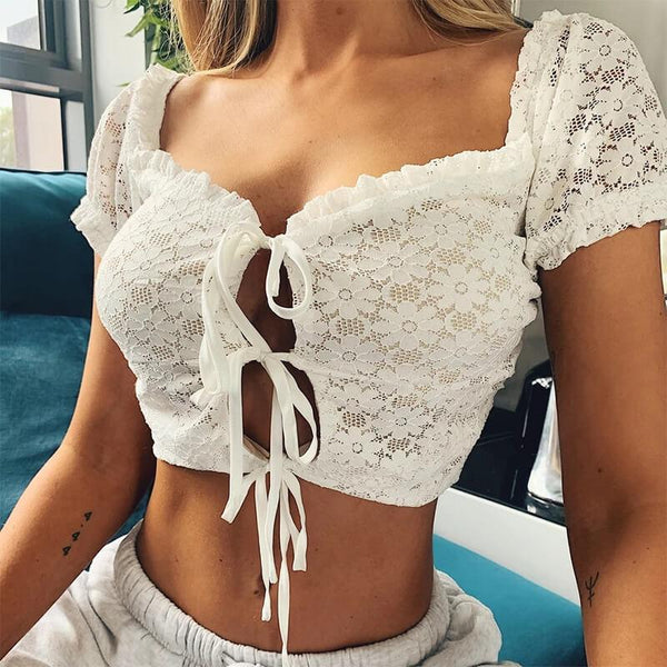Sexy White Lace Bandage Flapper Cropped T-shirts