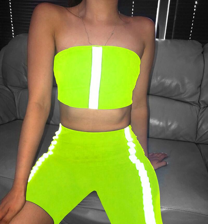 Sexy Strapless High Waist Reflect Bodycon Two Pieces Set