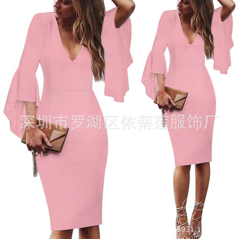 Lotus Leaf Sleeve V Neck Backless Short Dress