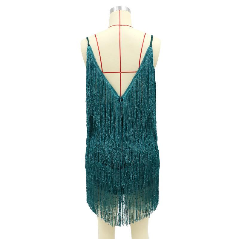 Sleeveless Tassel V-neck Slim Dress