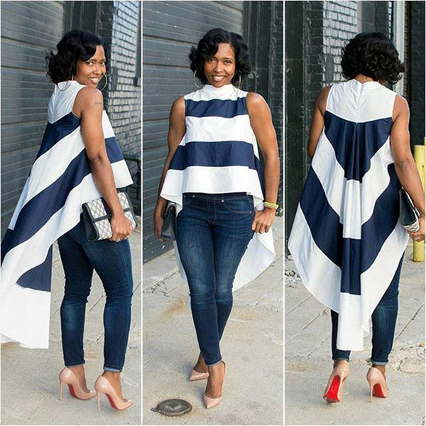 Stripe Patchwork High Neck Irregular Low High Blouse