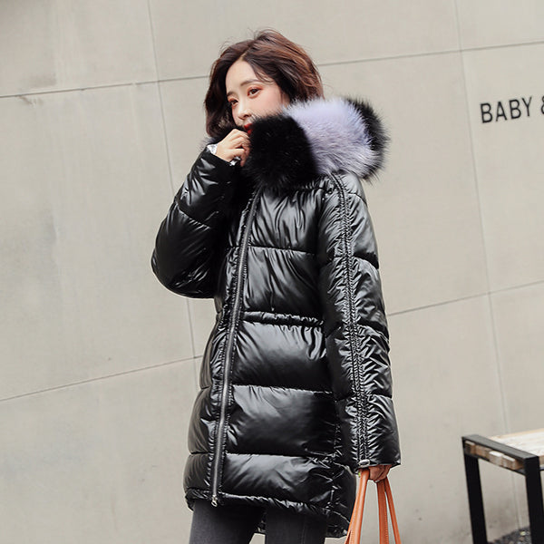 Metallic Elasticated Hem Puffer Jacket