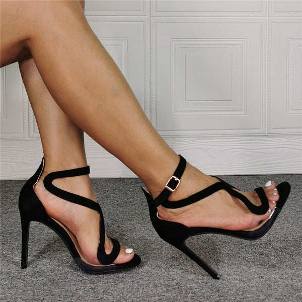 Summer Black Suede Open Toe High Heel Sandals