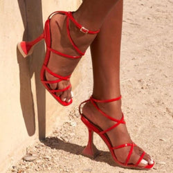 Goblet Lace Up High Heel Buckle Sandals
