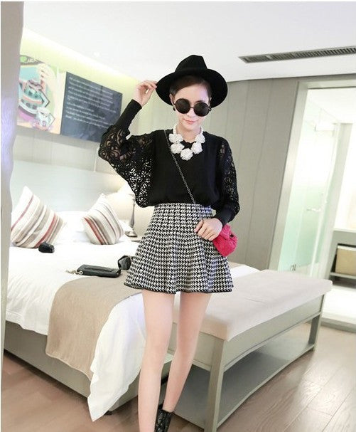 Fashion High Waist Knit Mini Fluffy Skirt