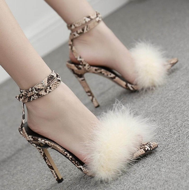 Snakeskin Fur Peep Toe Embellished Sandals