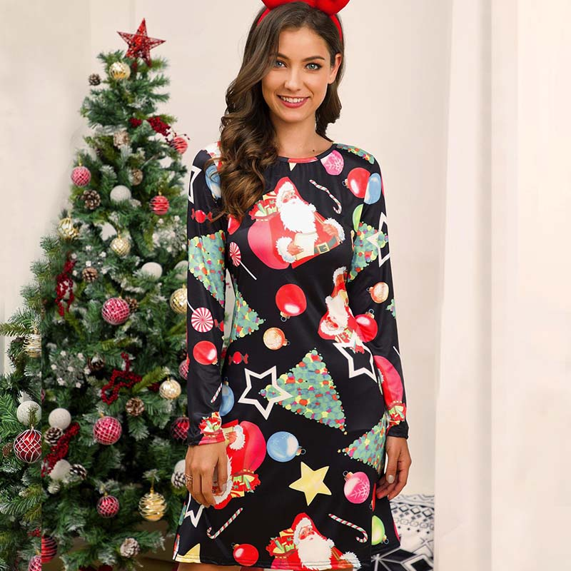 Christmas Scoop Neck Cartoon Print Short Dress