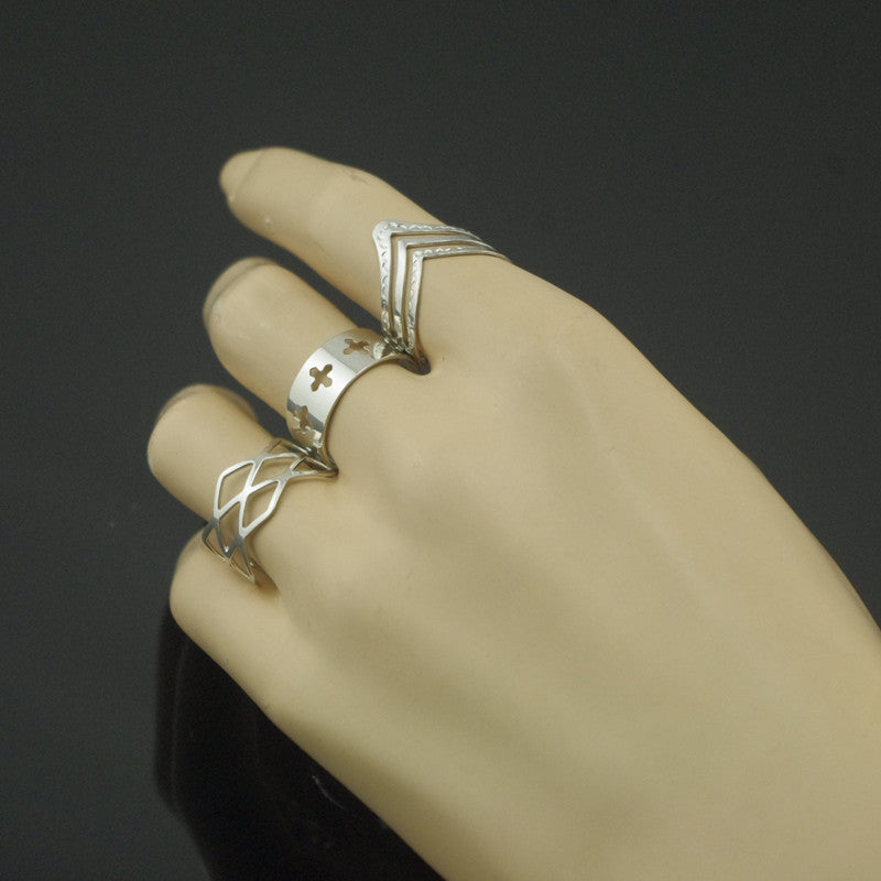 Fashion Hollow Out Cross V Rhombus Ring