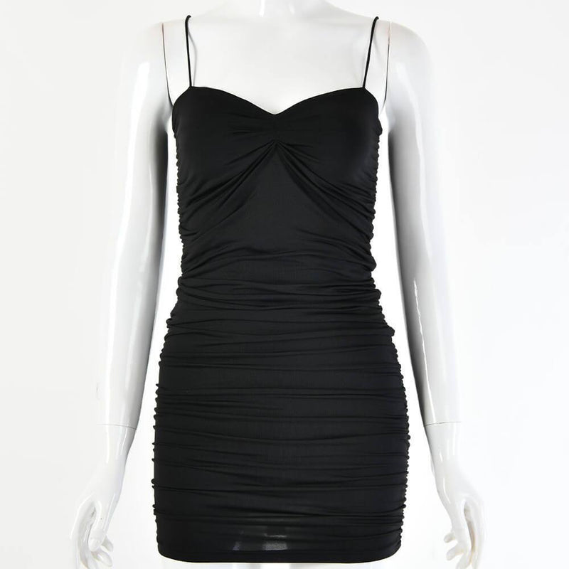 Sexy Camisole V-collar fold Blackless Short Party Dress