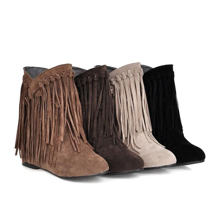 Nubuck Leather Tassel Women's Boots
