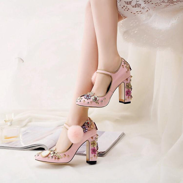 Cute Patent Leather Rhinestone Mary Jane High Heels