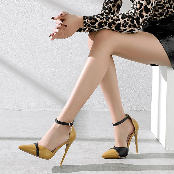 Point Toe Leather Ankle Strap Stiletto Heels