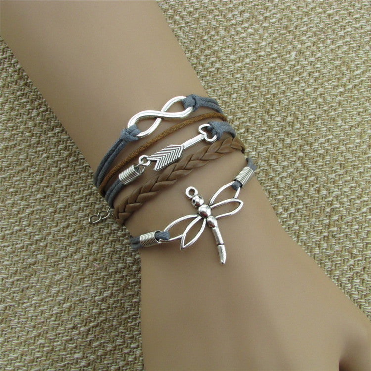 Dragonfly Eight Heart Arrow Leather Bracelet
