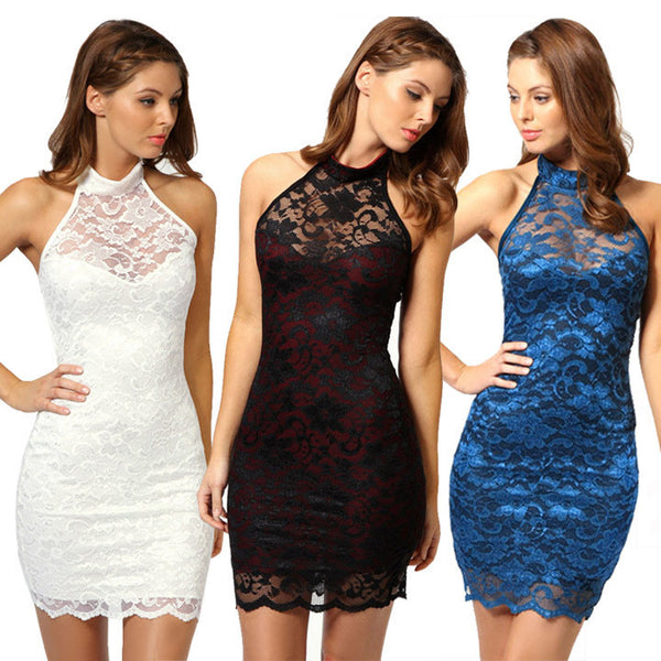Sexy Women's Dress Elegant Evening Cocktail Party Lace Floral Dress