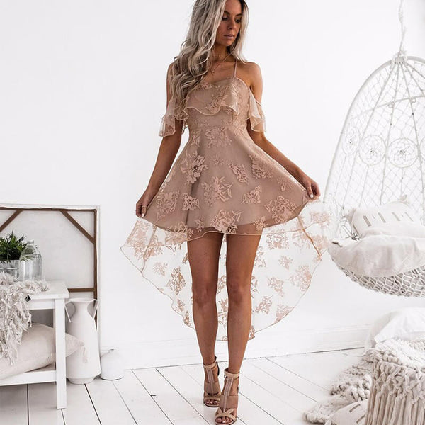 Low High See Through Floral Sling Dress