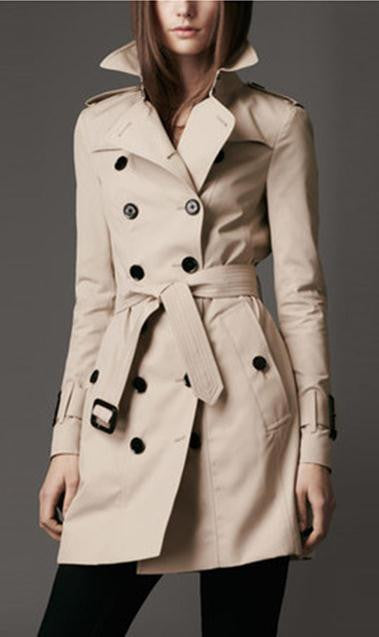 Turn-down Collar Belt Double Button Slim Mid-length Coat - May Your Fashion - 1