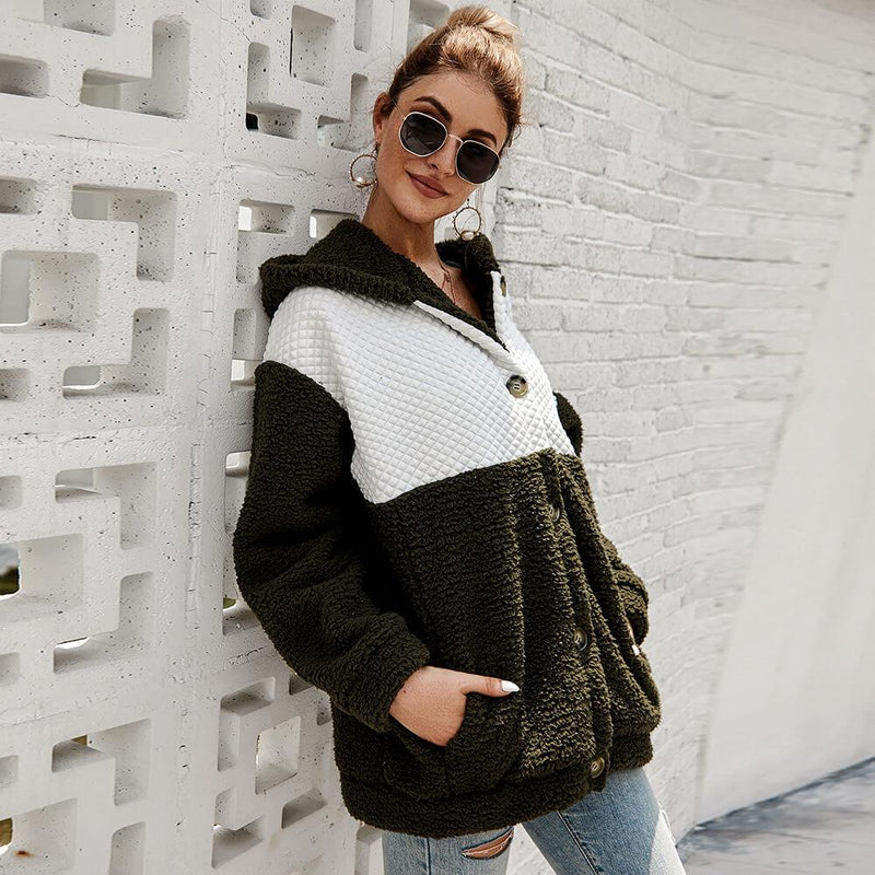 Colorblock Hooded Fleece Jacket