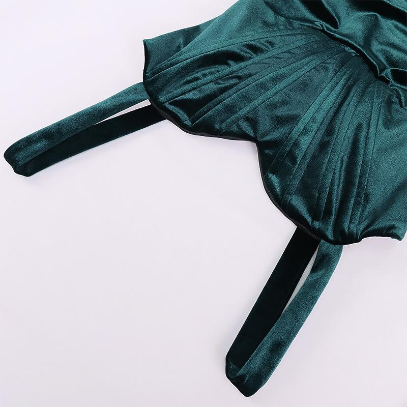 Velvet pleated suspender Dress