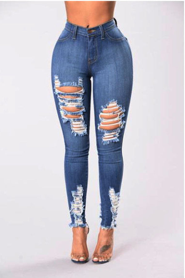 High Waist Pure Color Rough Holes Long Skinny Jeans