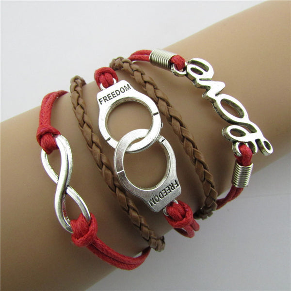 Handcuffs LOVE 8 Knitting Christmas Leather Bracelet