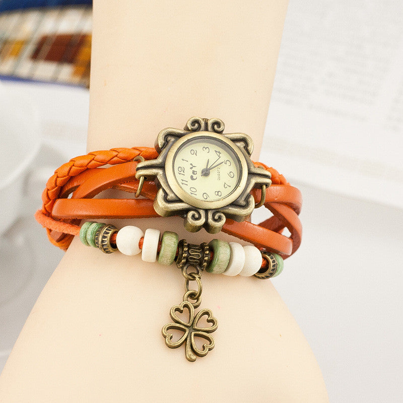 Retro Clover Woven Multilayer Watch