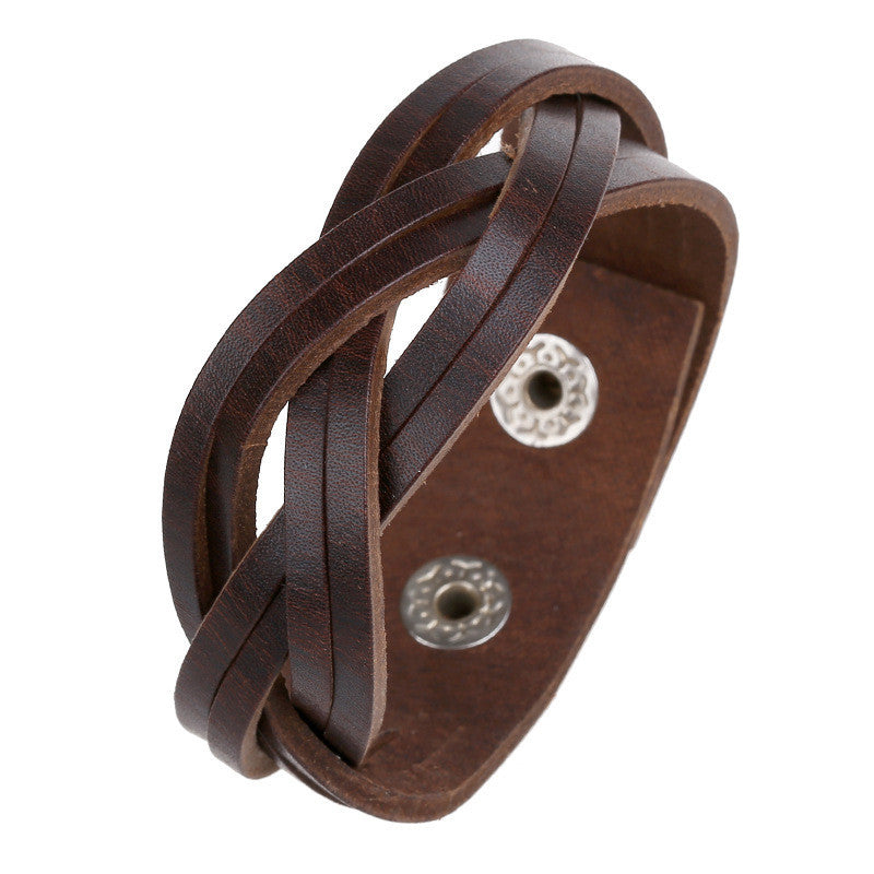 Wide Braided Leather Woven Bracelet