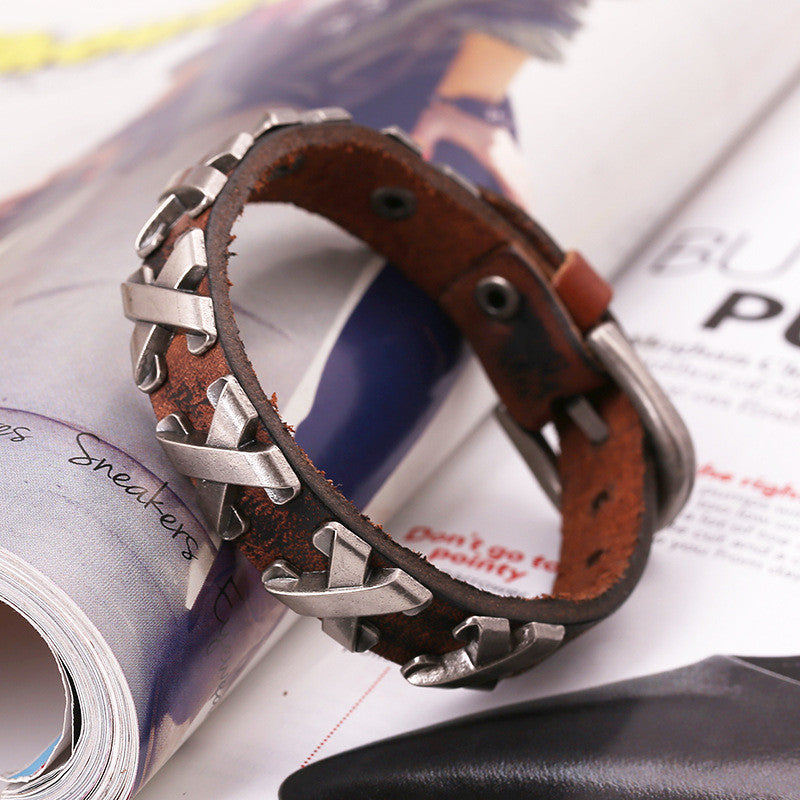 Alloy X Mark Leather Bracelet