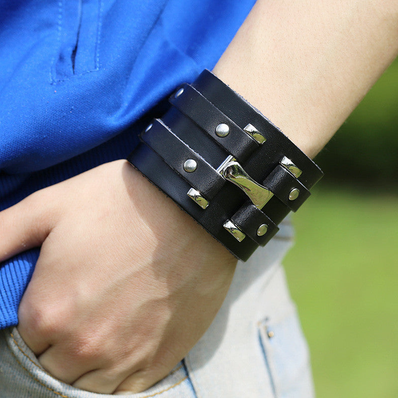 Personality Punk Wide Leather Bracelet