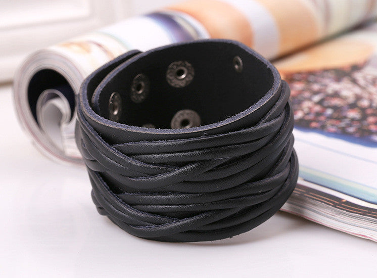 Personality Wide Strap Woven Leather Bracelet