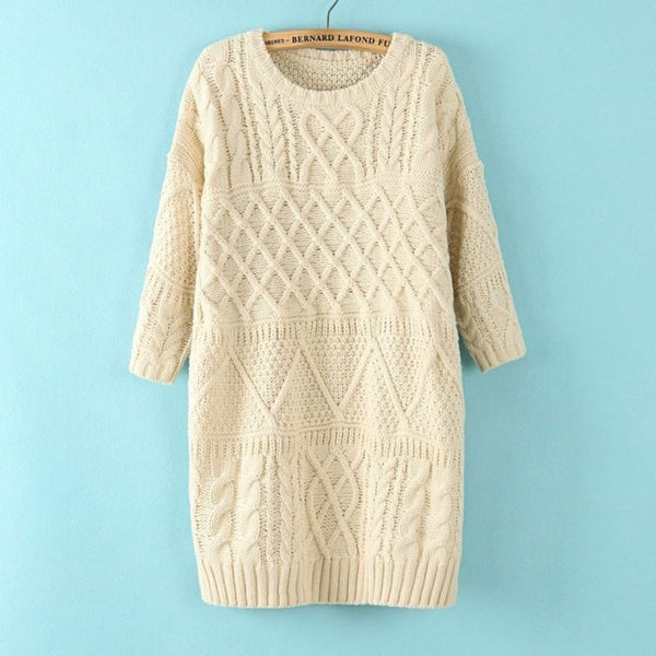 Diamond Cable Retro Knit Long Pullover Sweater - May Your Fashion - 2