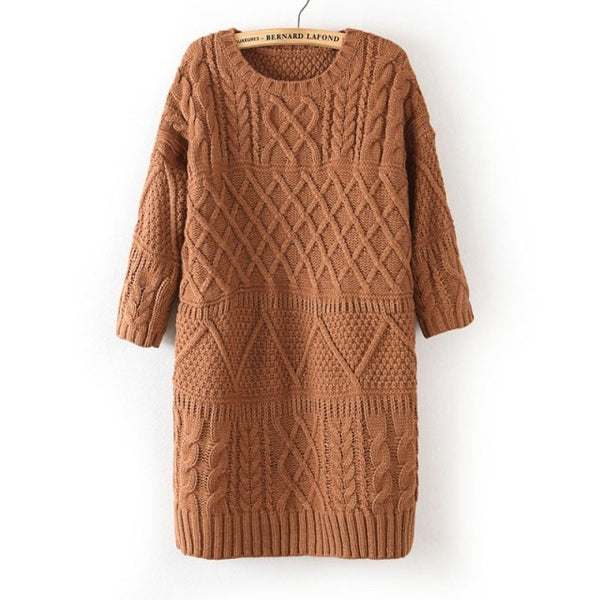 Diamond Cable Retro Knit Long Pullover Sweater - May Your Fashion - 1