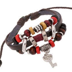 Key Pendant Beaded Leather Bracelet