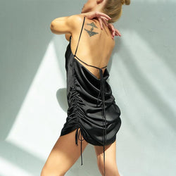 Free Shipping Solid Casual Suspender Open Back Pleated Bandage Short Dress