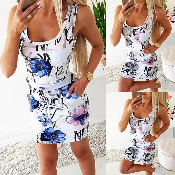 Low Cut Floral Sleeveless Bodycon Short Dress