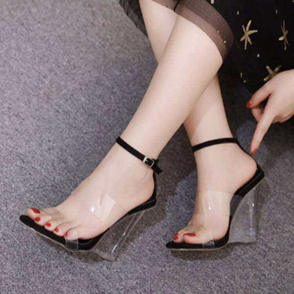 Wedge Clear Open Toe Buckle Sandals