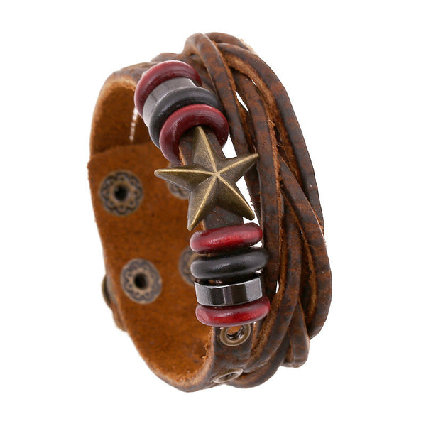 Retro Star Leather Woven Braided Bracelet