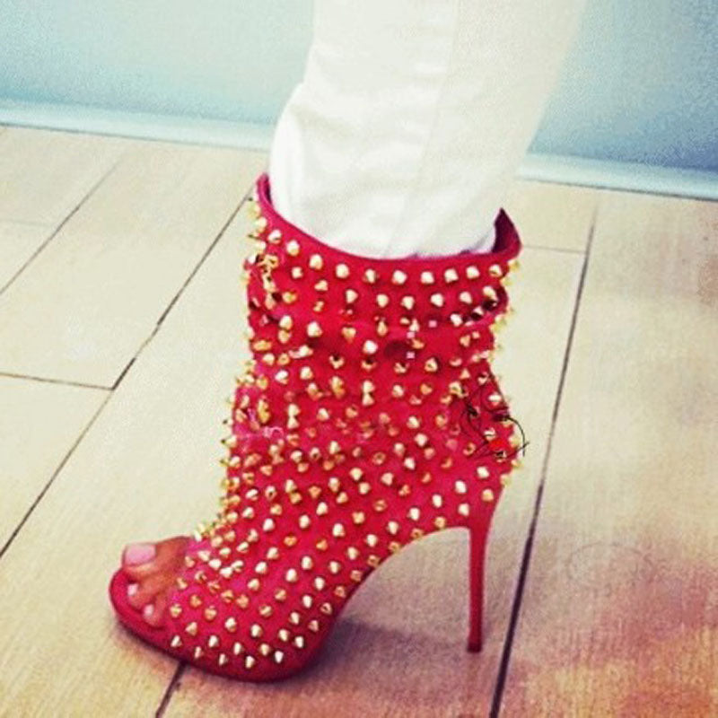 Bright Color Rivet Peep Toe Ankle Boots