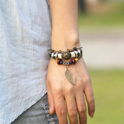 Personality Wing Pendant Multilayer Bracelet - Oh Yours Fashion - 1