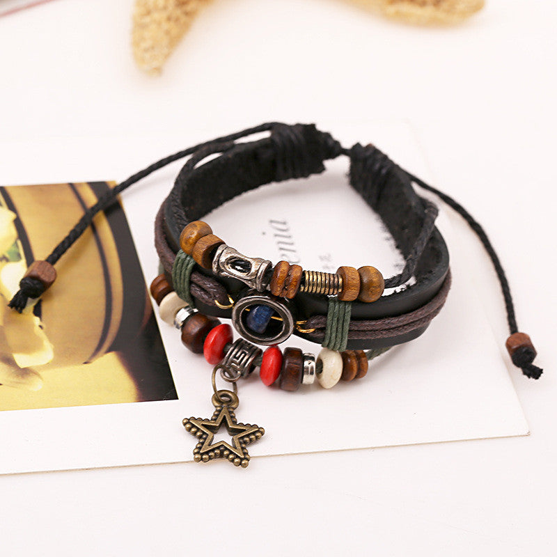 Vintage Star Pendant Beaded Leather Bracelet