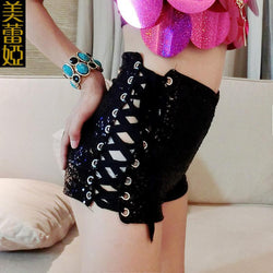 High Waist Sequins Side Lace Up Dance Shorts