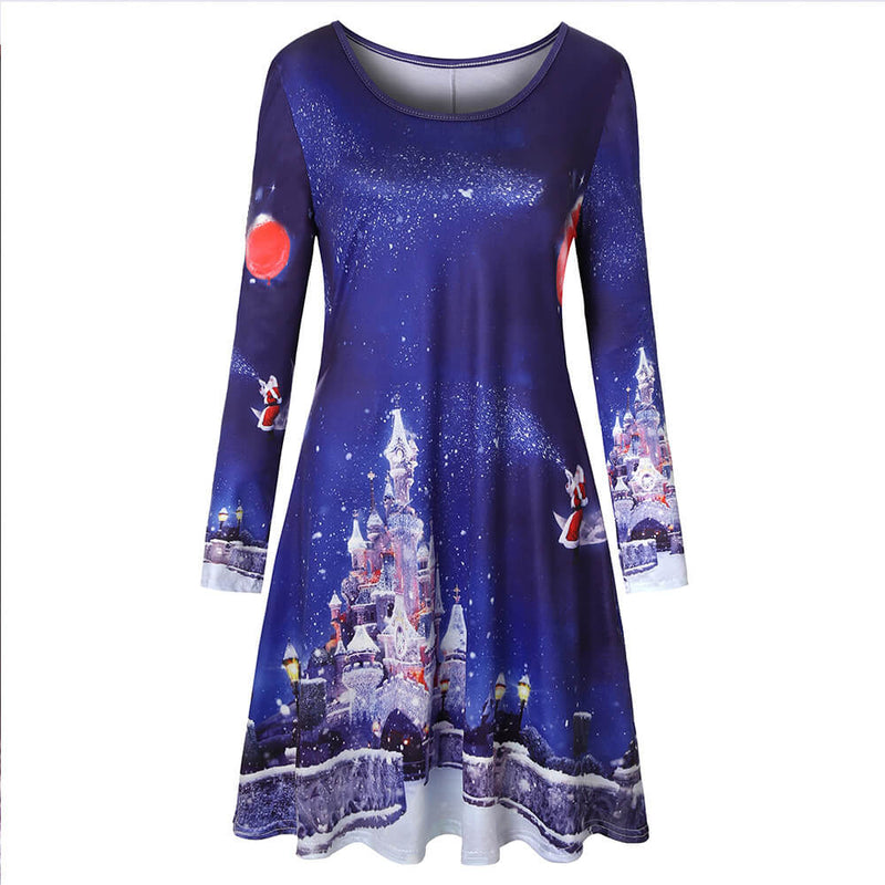 Retro Christmas Print Holiday Dress